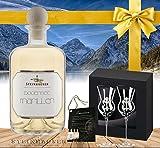Luxus Geschenkset Bodensee Marille|inkl. 2 schrägen Gläsern in der GESCHENKVERPACKUNG mit Brevier|Das Luxus Geschenk für Männer|Der hocharomatische Marillenbrand in der Apothekerflasche plus 2 Original Gläser