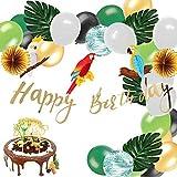 Easy Joy Safari Party Dekoration Kit Papagei Tropische Blätter Wild Geburtstag Dekor