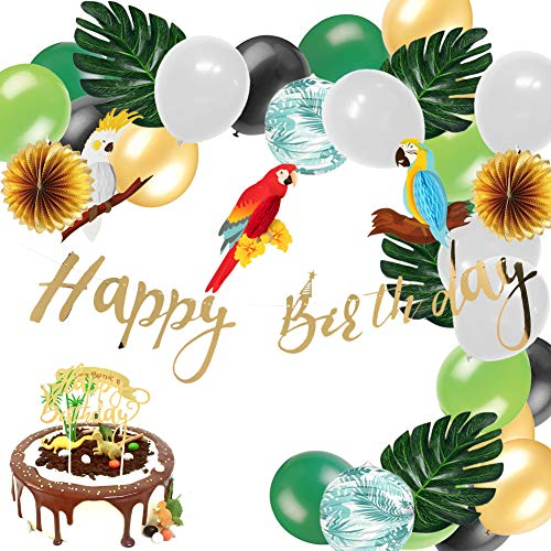 Easy Joy Safari Party Dekoration Kit Papagei Tropische Blätter Wild Geburtstag Dekor
