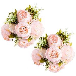 Lawei Peony Juego de 2 Ramo 6 cabezas de Flores Artificiales para decoración del hogar, diseño de peonías, Color Rosa