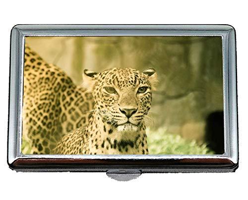 Portasigarette/scatola - King Size, portafortuna grande gatto leopardo riflessione Porta biglietti da visita in acciaio inossidabile