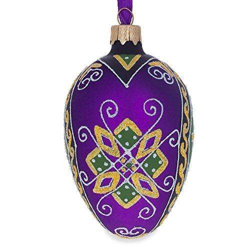 BestPysanky 10,2cm lila Geometrische Ukrainische Osterei Ei Glas Weihnachten Ornament (Ornament Glas-osterei)