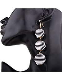 RONSHIN A Pair of Bohemian Elegant Disposable Waterproof Wax String Balls Earrings Dangle Studs Ethnic Earbob for Women Girls