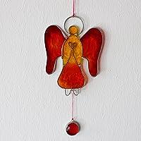 Fensterdeko | Engel rot aus Resin | Fenster Deko zum Aufhängen | Regenbogenkristall | Sonnenfänger | Engel Deko | Deko Engel | Fensterschmuck