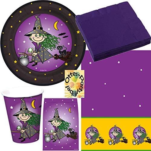 Halloween Kleine Hexe Party-Set für 8 Kinder 45 Teile Teller Becher Servietten Tischdecke Mitgebsel-Tüten