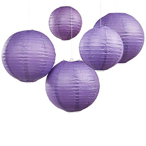 Ginger Ray bh-709rund, Drahtverstärkung, Dekorationen In 2Größen für Hochzeiten und Partys (5Pack), elfenbeinfarben 0 violett (Laterne Boho)