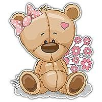 SkyBug Teddy Bear With Flowers Bumper Sticker Vinyl Art Decal for Car Truck Van Window Bike Laptop
