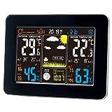 Horloges Stations Météo avec Écran LED Intérieure/Extérieure Sans Fil avec Capteur extérieur, Icônes en Couleur Pour Prévision/Température Avec Alertes/Humidité