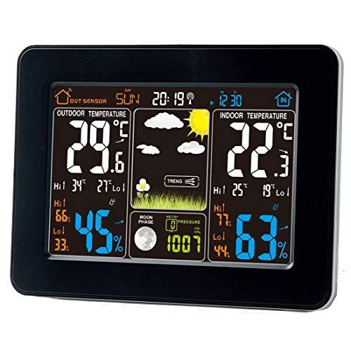 Funk Wetterstation mit Farbdisplay, Digital Thermometer-Hygrometer für Innen und außen, inkl. Außensensor,Hintergrundbeleuchtung in Farbe,LCD-Display
