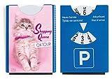 Fun Spaß Motiv Parkscheibe mit Eiskratzer und Gummilippe süße Katze Kätzchen Shopping Queen on Tour