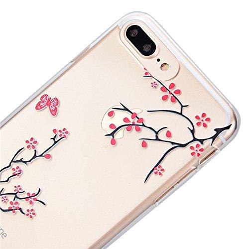 Für iPhone 7 Plus Cover, Yokata Transparent Motiv TPU Vintage Soft Case mit Weich Silikon Bumper Crystal Clear Schutzhülle Durchsichtig Extrem Dünne Case Hülle - Orchidee Plum Blume