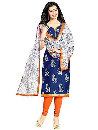 Queen of India Women's Cotton Printed Dress Material - 8_Pink and White_Free...