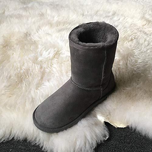 LOLIVEGO Schneestiefel Schaffell EIN Schnee Stiefel Damen Stiefel In Der Röhre Flach Unten Warme Baumwolle Stiefel Leder Schnee Baumwolle