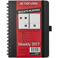 Action Day-Calendario planning per anno 2017: giornaliera, settimanale, mensile, annuale Organizer porta & Journal-Set di obiettivi per & Get fatto Things, 8 x 6, cavo a spirale, colore: nero