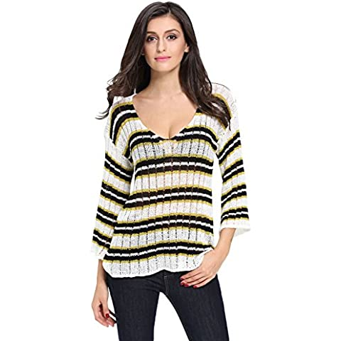 Señoras Crema Rayas Sheer Knit Jumper, Jersey, punto wear, Causal Wear tamaño UK 8 – 10