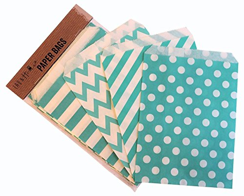Set 100 Craft Paper Bags/Candy Sweet Gift , 13x18cm - 4 designs - Aqua