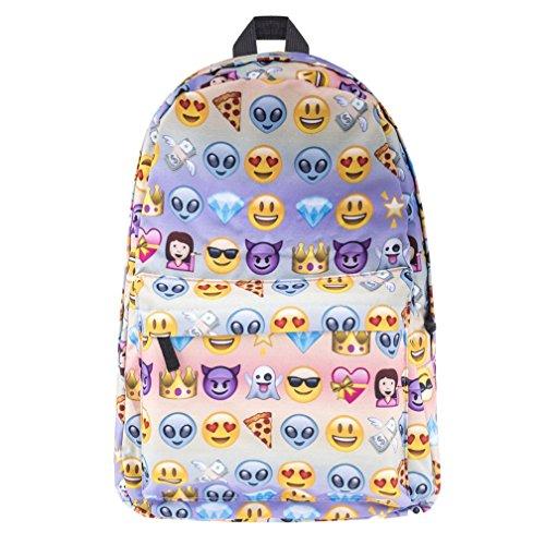 Borsa unicorno, kfnire 3d unicorno stampa multi color arcobaleno unicorno zaino, borsa college scolastica per studenti adolescenti (emoji)