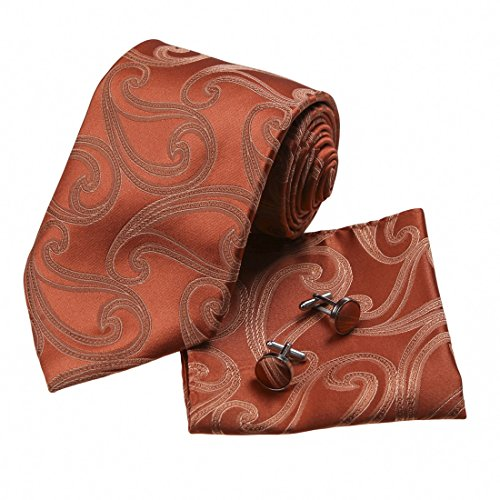 H5136 Orange Paisleys Best Gift For Business Mens Silk Tie Cufflinks Hanky Set 3PT By Y&G