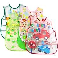Uber World Cotton Baby Apron Cum Bib, Eva-Waterproof, Cute Prints (41 Cms X 33 cm, Multicolor, 3 Piece)