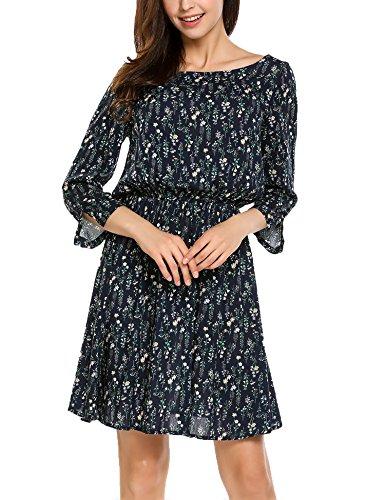 9d6fa16579b30f *Zeagoo Damen Boho Blumen Kleid Sommerkleider 3/4 Ärmel Casual Kleid Skater  Freizeitkleider Blau L