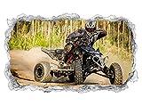 3D Wandtattoo Quad ATV Motorsport Racing outdoor Wand Aufkleber Durchbruch Stein selbstklebend Wandbild Wandsticker 11N559, Wandbild Größe F:ca. 140cmx82cm