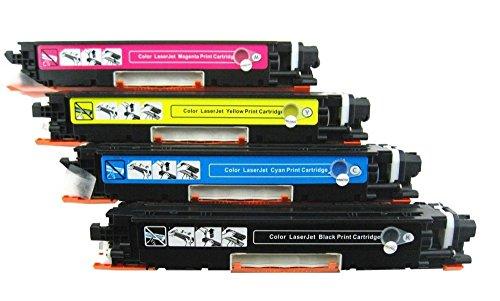 New CE310A CE311A CE312A CE313A Compatible Toner Cartridges for HP Color LaserJet Pro: 100 MFP M175nw CP1025nw M275 - 4 Pack - 1 Black + 1 Each Color image