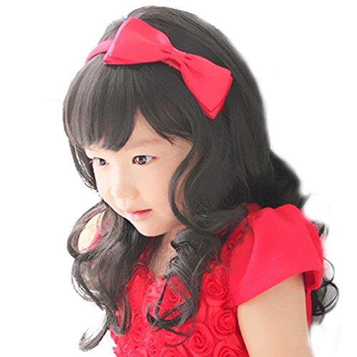 Rise World Wig Neue Art und Weise dunkelbraune lockige Perücken für Kinder Kinder Bangs Hitze-freundliche Cosplay (Kappe Dunkelbraune Perücke)