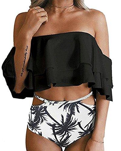TMEOG Bademode Frauen, Frau Zwei Stück Off Shoulder Rüschen Volant Crop Bikini Oberteil Mit Print Cut Out Bottoms (L (EU 40-42), Schwarz)