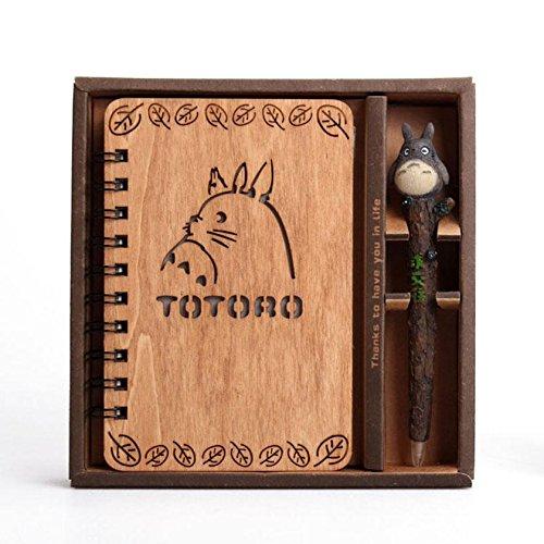 HETAO Kreativ kreative Retro Holz Notizbuch Schreibwaren Student kleine frische portable Notebook , totoro for communication Memorandum (Schwarze Mini Exotische)