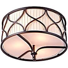 Saint Mossi Tiffany Diseñado Luces De Techo Semi Flush Mount 3 Luces Tejido Tejido Dark Brown