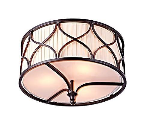 Saint Mossi Tiffany Design Deckenleuchten Semi Flush Mount 3 Lichter Kronleuchter Stoff Shade Dark Brown