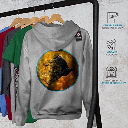 Corbeau Cosmos Lune Espace Femme S-2XL Sweat à capuche le dos | Wellcoda Gris