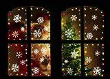 Tuopuda Pegatinas de Nieve Decoraciones de Ventanas de Vinilo Etiquetas del Partido Casero, 4 Hojas, 56Copos de Nieve Pegatina de Ventana Decoraciones de Ventana de Navidad Invierno