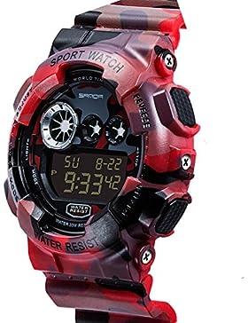SANDA TYFK550306 Jungen Digital Display Armbanduhr Sports Uhren (Rot)