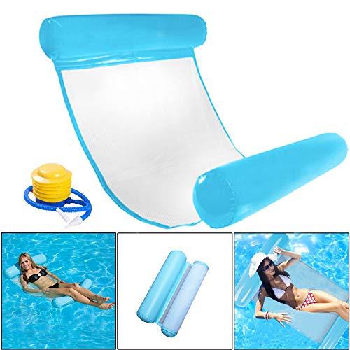 INTVN Pool Hängematte Wasser-Hängematte Schwimmliege Wasserliege aufblasbares Kopf- & Fußteil, Luftmatratze Pool Lounge für Wasserspaß Liege für Erwachsen Sommer im Freienschwimmen (Blau)