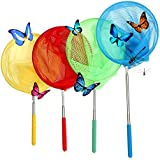 LQZ 4 Packs Colorful Kids Telescopic Extendable Butterfly Net For Catching Fish, Small Insect