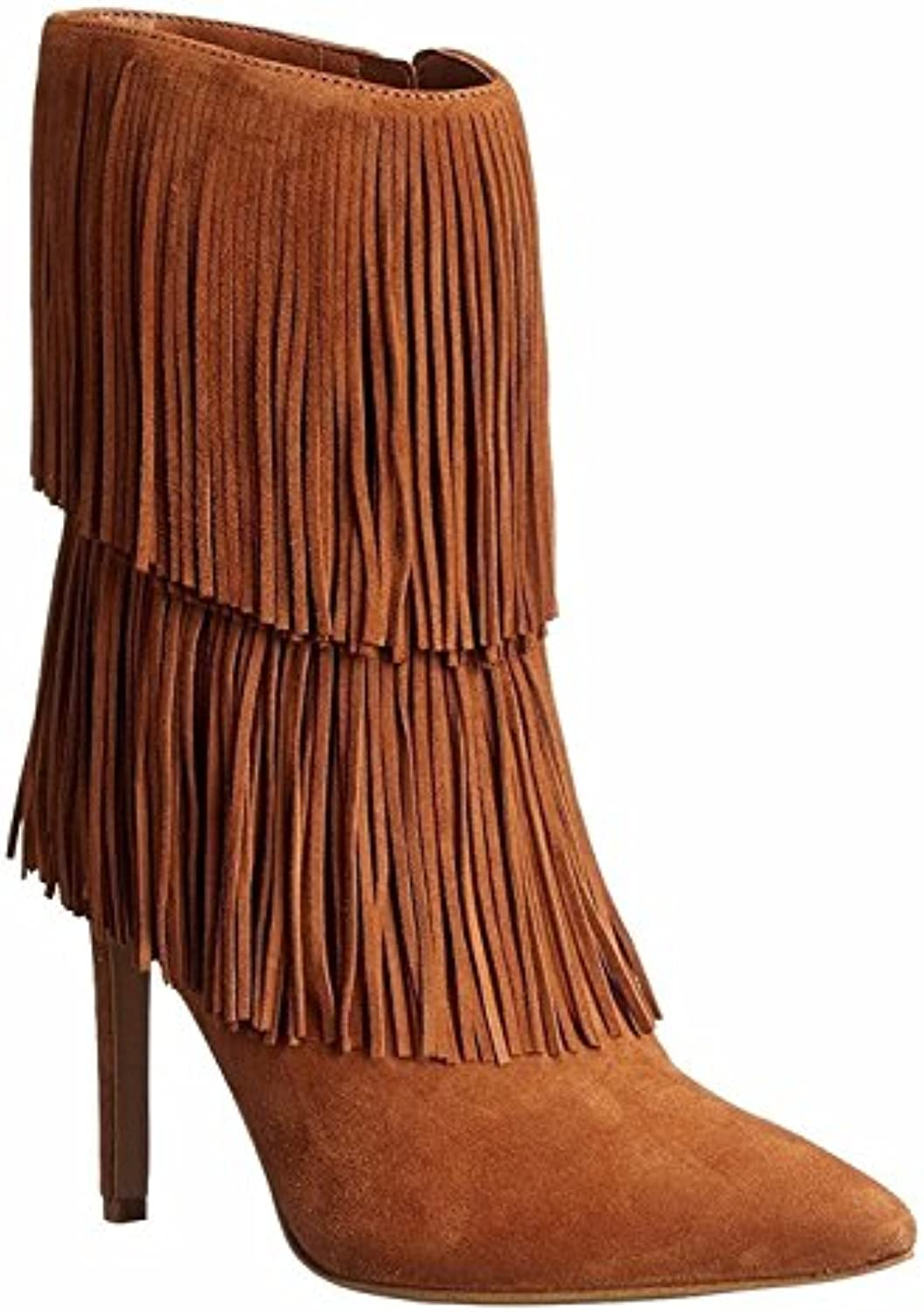 8bd95dd2114 GAIHU Ladies 29129 stiletto ankles high heel boots ankles letter head  B07D6B9FDC of shoes black suede tassel brown spring of the fall.