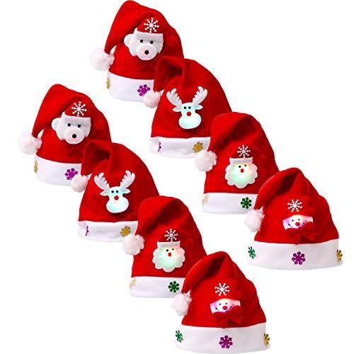 8 Piezas Sombrero Navidad Gorra Terciopelo