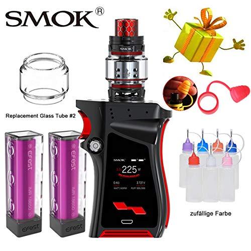 E-Zigarette, Authentisch Smok 225W Mag Kit mit 8ml TFV12 Prince Tank und Wiederaufladbare 3000mAh * 2 Batterien, Keine E-Flüssigkeit und Nikotin(Schwarz Rot)