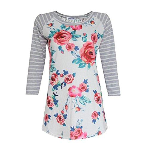 WOCACHI Damen Frauen beiläufige Blumen Spliced Streifen Druck Rundhalsausschnitt Pullover Bluse Tops T-Shirt Weiß