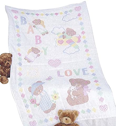 Jack Dempsey Stamped White Quilt Crib Top, 40 inches x 60 inches , Baby Love Bears,
