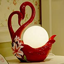 Cisne Lámpara de Escritorio Rojo Romántico Ornamento La Sala El Dormitorio Artículos de Decoración Enviar a Un Amigo Un Regalo de Boda ( Color : Blanco )