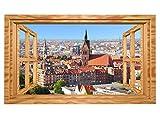 3D Wandmotiv Hannover Skyline Fenster Stadt Wandbild sticker selbstklebend Wandtattoo Wohnzimmer Wand Aufkleber 11E431, Wandbild Größe E:ca. 168cmx98cm