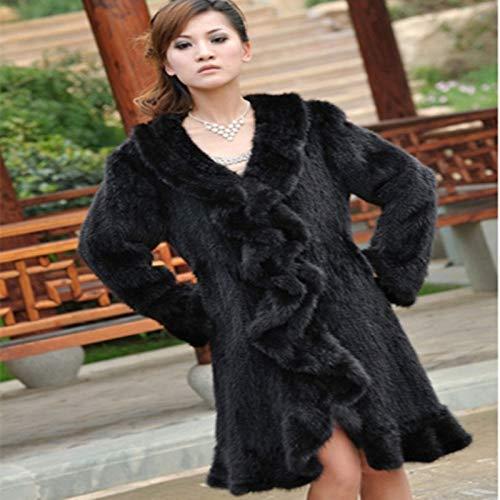 ZYJANO Warmer Mantel,Winter Frauen natürliche echte gestrickte Rüschenkragen Lady Trench Overcoat Oberbekleidung 2