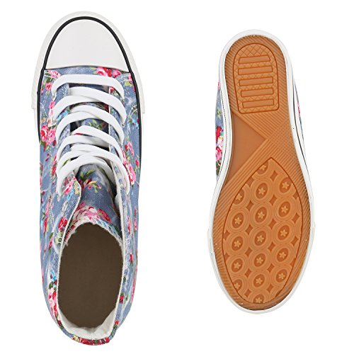 Damen Sneakers Stoff | Sneaker Wedges Blumen | Camouflage Sneaker Keilabsatz | Details Schuhe Zipper Denim Hellblau Blumen