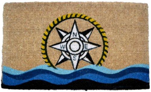 Importe Decor bedruckt Kokosfaser Fußmatte, Kompass, 18von - 1 Schablone Richtung