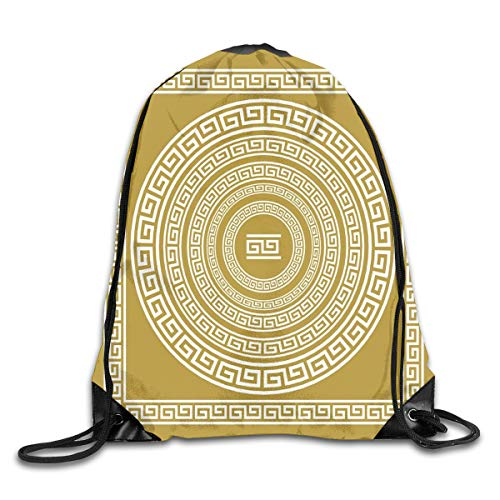 New Shorts Frieze with Vintage Ornament Meander Pattern from Greece Retro Twist Lines Drawstring Backpack Rucksack Shoulder Bags Sport Gym Bag for Men and Women