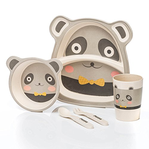 all Kids United Kindergeschirr-Set aus Bambus-Geschirr für Kinder Kindergeschirrset aus Bambus Set 5-teilig; Panda