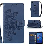 Bangcool Huawei P8 Lite 2017 Wallet Case Stylish Embossed Skull Floral Flip Cover for Huawei P8 Lite 2017 with Lanyard