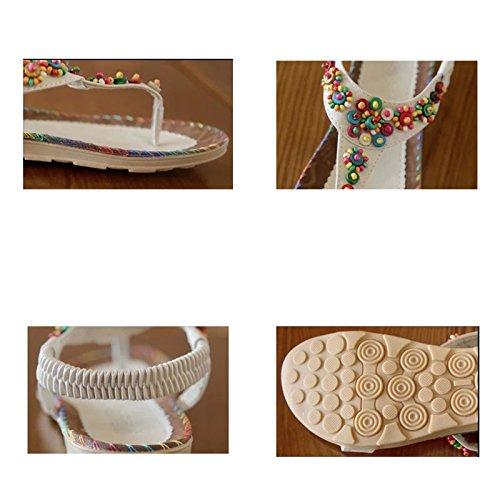 Donalworld Frauen Sommer Strand Schuhe, mit Bohemian Perlen und T-Riemen, Keil Flip Flops, Damen Plattform Sandalen Braun